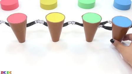 育儿早教,玩彩色橡皮泥制作草莓冰淇淋,学习颜色