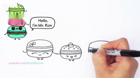 如何一步一步地画出金刚鹦鹉可爱的卡通甜点