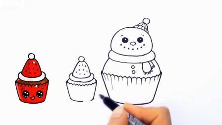 如何一步一步地画圣诞蛋糕简单可爱3