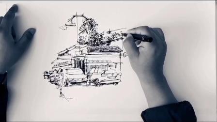 赵恒逸钢笔画过程演示|北京南锣鼓巷