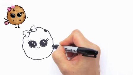 如何画卡通牛奶和巧克力曲奇可爱和容易