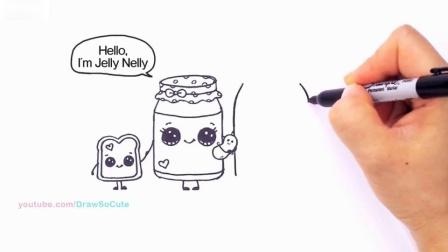 如何画可爱的卡通食品花生酱和果冻三明治