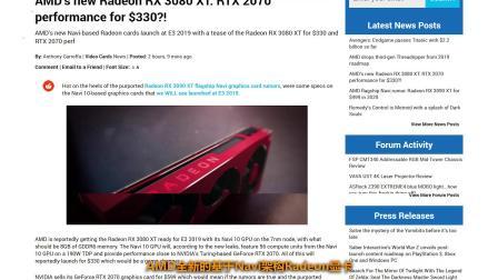 AMD全新的Radeon RX 3080 XT性能接近RTX 2070并且更便宜