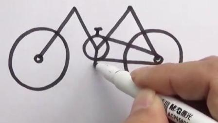 用字母M画自行车!#简笔画 #儿童学画画 #自行车