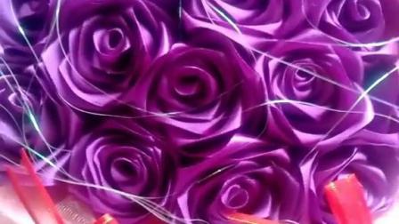 4cm宽缎带DIY手工玫瑰花丝带花束彩带材料包蓝色妖姬制作花束套装