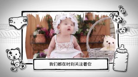 D30可爱卡通儿童成长电子相册生日贺岁成长档案宝宝照片展示AE模板图文宣传片 文字片头 开场