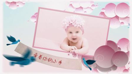 D42可爱卡通蓝天白云小鸟儿童成长纪念相册展示宝贝生日满月百天开场视频AE模板_x264