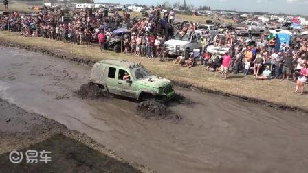 泥坑大挑战 比比谁更狂更远 - 大轮毂汽车视频