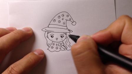 卡通简笔画教程.飞天小魔女