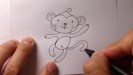 卡通简笔画教程.小猴子