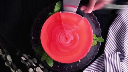 桃肉罐头芝士蛋糕,最漂亮的免烤芝士蛋糕,生图超能扛!