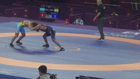 65kg 决1-2 下 2019年亚洲摔跤锦标赛自由式男子