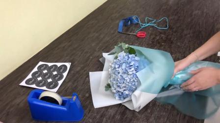 花束包装方法教程包装绣球花束