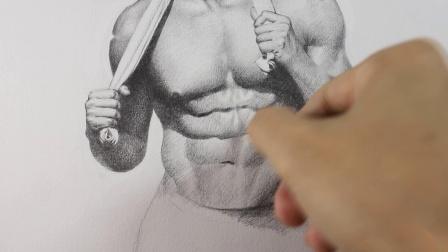 素描 身体局部 腹部