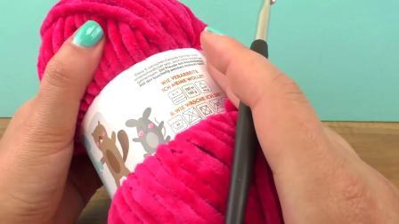 手工制作 DIY钩织粗针 粉色秋冬围巾 超级好看简易炫酷 温暖毛线围脖