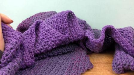 手工制作 DIY简单毛线羊毛钩织 彩色绒线 紫色渐变颜色 三角形围巾披肩 坎肩