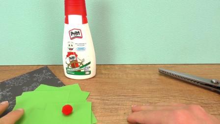 超级可爱 彩色卡纸制作 绿色圣诞树贺卡 邀请卡折纸装饰