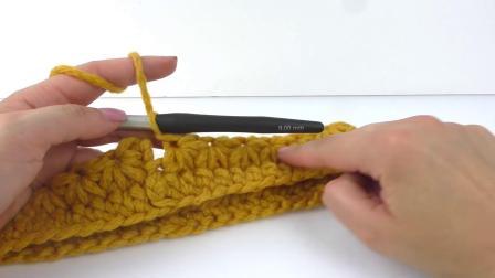 手工制作DIY 超级简易 秋冬粗针彩色毛线 黄色彩色 围脖 围巾保暖自制 展示