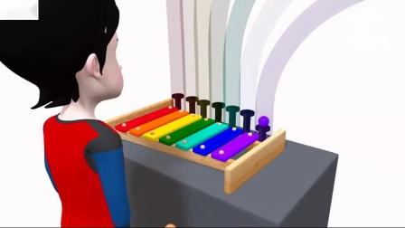 用木琴和球学习彩虹色儿童幼儿和婴儿的颜色[001]