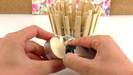 DIY 手工 制作 超级 可爱 简单 快速 旧物改造 废物 利用 洗衣夹 衣夹 夹子 木质 自制 简易 烛台 装饰 展示