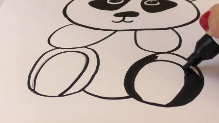 DIY 手工 制作 简易 创意 可爱 动物 黑白 彩色 熊猫 Panda 简笔画 贴图 水晶 挂件 展示