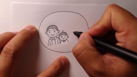 快乐的一家人主题:生日蛋糕简笔画