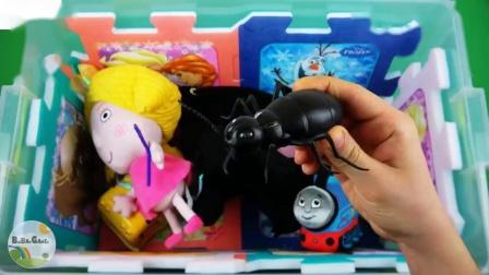 包装盒中的人物车辆和颜色佩帕昆虫本和霍利杰特等玩具为孩子学习