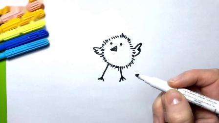 如何用气球彩页画小鸡