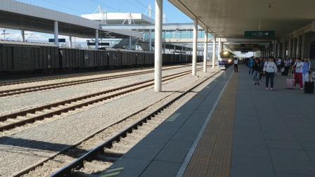 客车T9584次石河子站8道停车。乌局乌段东风11 0244还有刷绿25K。