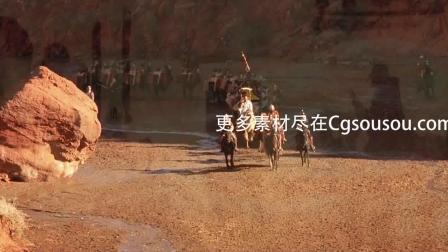 中国历史古代丝绸之路地图沙漠骆驼队LED背景动态