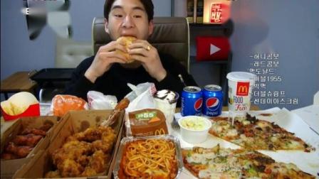 吃播【剪说话】BANZZ奔驰小哥吃炸鸡 海鲜披萨+意大利面+烤鸡肉+汉堡薯条 快进-剪说话[1080P]