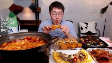 二倍速 韩国吃播【剪说话】大胃MBRO吃马克定食、烤鸡、披萨;泡菜炒饭、泡菜汤、面、沙拉