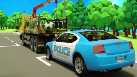 少儿卡通,儿童工程车玩具识颜色动画