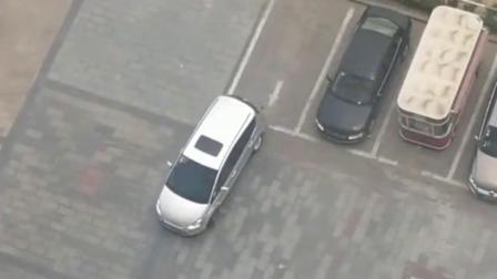 白车司机倒车入库,这技术一看就是新手,恐怕刚拿驾照吧
