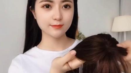 网红中分刘海假发片女 韩式真发八字空气假刘海 两侧修脸自然蓬松