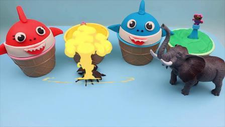 学习4种颜色玩在冰激凌杯松饼宝宝鲨鱼棒棒糖惊喜蛋