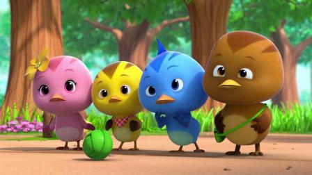 小鸡们的玩具球被小猫据为己有,小鸡们只好去玩别的游戏