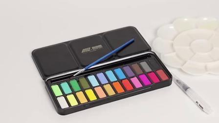 莫帕斯固体水彩颜料画笔套装水彩固体颜料24色水彩画笔手绘学生初学者水彩绘画工具儿童便携铁盒装固体水粉饼