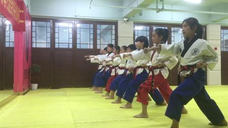 秋歌跆拳道品势教学(下格挡+冲拳)分解和连贯动作