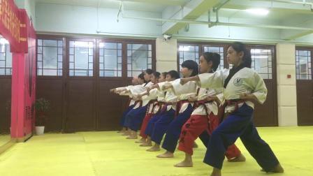 秋歌跆拳道品势教学(外格挡+冲拳)分解和连贯动作