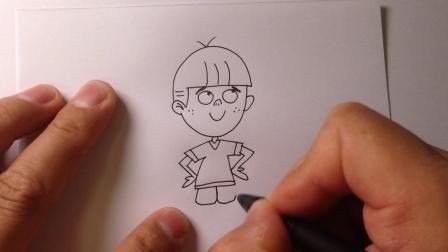 可爱人物简笔画.叉腰的小男孩