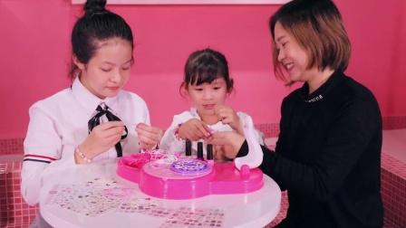 凯蒂猫儿童美甲机指甲油套装贴纸玩具女童女孩公主无味美甲包
