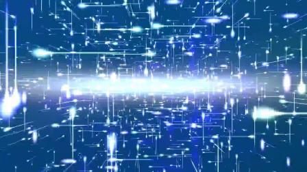 s998 2k画质超炫科技感互联网计算机蓝色光线粒子三维空间穿梭大屏幕舞台LED视频素材彩虹 草地花朵 星光 卡通太阳