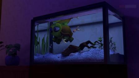 小兔子在冰箱里面发现了胡萝卜,乌龟跳进水箱里和小鱼一起游泳!