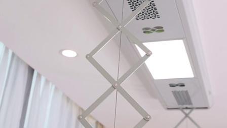 晾霸 W28智能晾衣机 阳台晒衣架无线遥控自动升降LED照明电动晾衣架 现代金 1.5米主机+4杆+消毒+风干