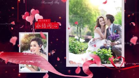 1198 唯美浪漫婚礼婚庆结婚纪念日求婚表白爱心玫瑰花瓣电子相册视频AE模板科技片头 年会 视频制作 设计
