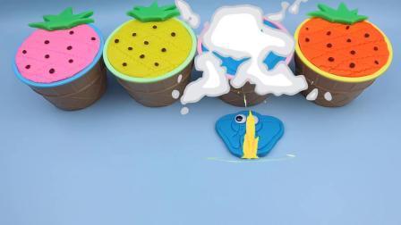 制作4种颜色的神奇菠萝玩具冰淇淋杯卡通饼干模具惊喜玩具蛋