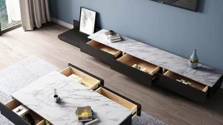 大理石茶几电视柜组合简约小客厅现代意式轻奢网红北欧电视柜套装