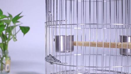 不锈钢圆形鸟笼大号玄凤画眉鹩哥八哥专用别墅鹦鹉小型繁殖鸟笼子