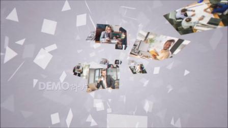 1446 震撼大气图片墙照片墙多图片飞入汇聚企业LOGO演绎片头AE模板毕业季 科技片头 视频制作